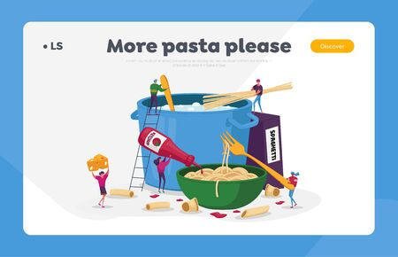 Characters Cooking Pasta, Italian Food Landing Page Template. Tiny People Put Spaghetti and Dry Macaroni in Huge Pan
