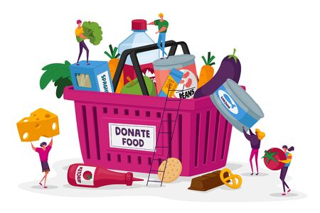 Tiny Characters Filling Cardboard Donation Basket with Food Products for Help to Poor People in Shelter Vector Illustration