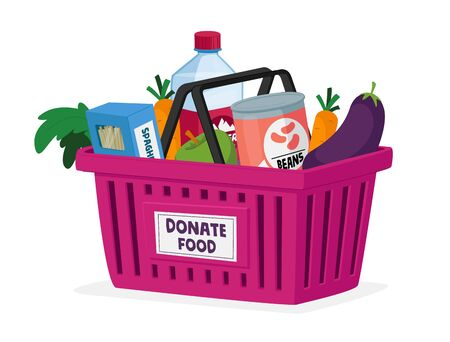 Food Donation, Charity and Humanitarian Aid Concept. Shopping Cart Full of Grocery Production Vegetables, Fruits
