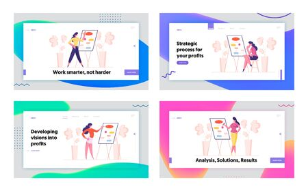 Business Presentation, Workflow Algorithm Landing Page Template Set. Businesswoman Female Character at Whiteboard