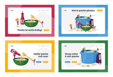 Characters Cooking Pasta Landing Page Template Set. Tiny People Put Spaghetti and Dry Macaroni in Huge Pan