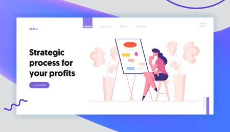 Business Process and Workflow Algorithm Landing Page Template. Businesswoman Character Studying Flowcharts Çizim