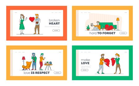 Lovers in End of Loving Relations Landing Page Template Set. Couple Characters with Broken Heart Blaming Each Other