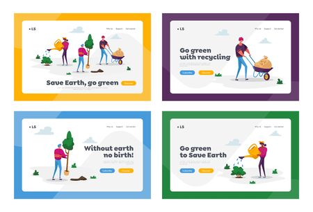 Global Warming Landing Page Template Set. Tiny Characters Care of Plants to Reduce Air Pollution and Co2 Gas Emission