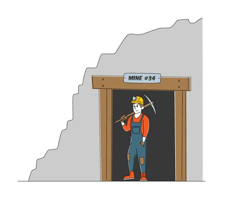 Mineworker in Uniform and Helmet Exit Coal Mine Quarry Holding Pickaxe on Shoulder. Male Miner Character at Work. Extraction Industry Profession, Working Occupation. Linear Vector Illustration