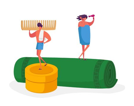 Tiny Male and Female Characters Stand on Huge Towel Roll, Man Holding Comb, Woman Drying Hair with Fan after Taking bath or Shower. Hygiene Procedures, Body Washing. Cartoon People Vector Illustration Ilustração