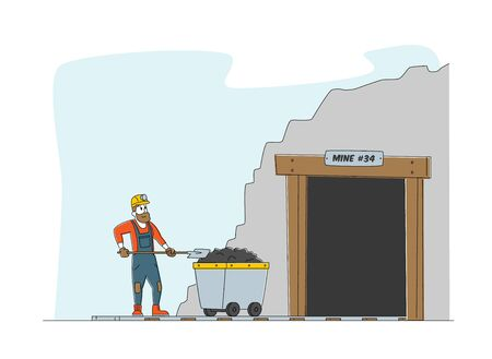 Worker Character in Uniform and Helmet Stand at Coal Mine Entrance with Trolley and with Shovel in Hands. Miner at Work. Extraction Industry Profession, Working Occupation. Linear Vector Illustration Çizim