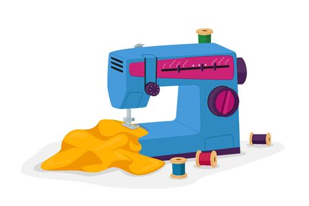 Dressmakers Equipment Sewing Machine, Fabric and Spools of Tread. Outfit, Wear and Apparel Fashion Design Concept, Creative Atelier, Tailor Textile Craft and Business. Cartoon Vector Illustration