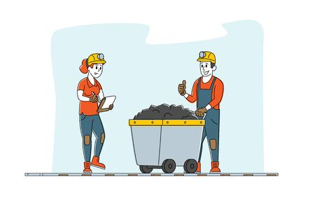 Miners at Work. Extraction Industry Profession, Working Occupation. Mine Inspector Character Writing Receiving Coal Batch Worker Bring in Trolley from Quarry. Linear People Vector Illustration Çizim