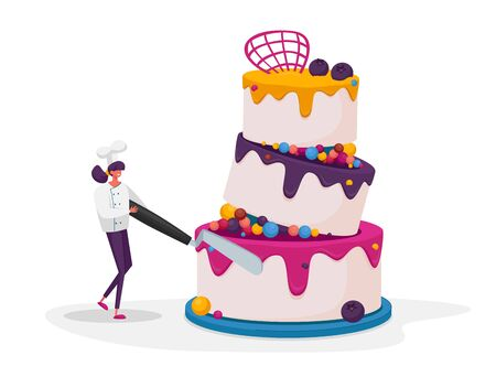Tiny Confectioner Female Character in Chief Uniform and Toque Decorate Huge Festive Cake Use Professional Instrument, Wedding or Birthday Pie with Cream, Mousse and Glaze. Cartoon Vector Illustration