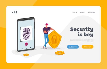 Cyber Security Landing Page Template. Man Character Stand at Huge Mobile Phone Holding Shield with Lock, Touch Screen for Finger Scan. Biometric ID Fingerprint Scanning. Cartoon Vector Illustration