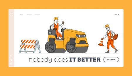 Roadwork and Asphalt Paving Landing Page Template. Workers Characters with Heavy Asphalting Machinery. Transport, Pavement Compactor. Construction Building Industry. Linear People Vector Illustration