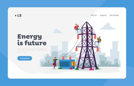Energy Station Powerline in City Landing Page Template. Electrician Workers Characters with Tools, Equipment Electric Transmission Tower Maintenance, Line Poles. Cartoon People Vector Illustration