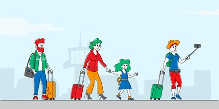 Characters with Luggage Boarding on Airplane. Travelers Go to Aircraft, Passengers Board to Jet or Train. People Travel, Woman with Daughter, Businessman in Airport. Linear People Vector Illustration