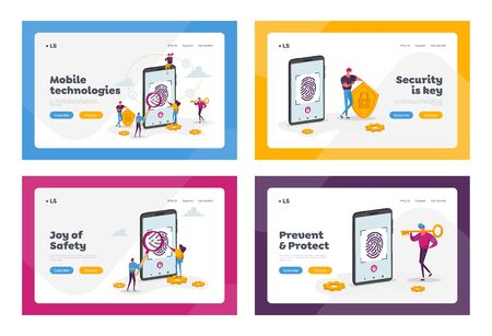 Cyber Security, Futuristic Technology Landing Page Template Set. Fingerprint Scanning Smartphone Access Lock. Tiny Characters at Huge Mobile Phone with Finger Scan. Cartoon People Vector Illustration Иллюстрация