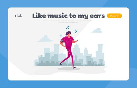 Jogging and Sports Healthy Lifestyle Landing Page Template. Woman Character in Sports Wear and Headset Running in Park Listen Music Player. Summer Outdoor Sport Activity. Cartoon Vector Illustration 矢量图像