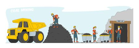 Coal Mining. Miner Characters Working on Quarry with Tools, Transport and Technique. Extraction Industry Technics, Work Equipment and Transportation for Quarry. Linear People Vector Illustration Çizim