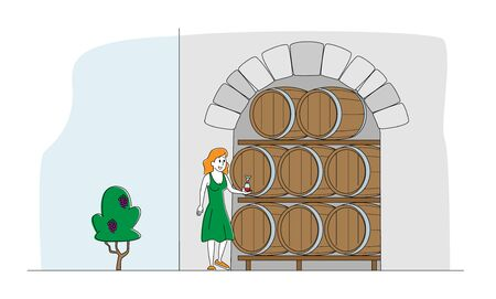 Female Winemaker Character Tasting Wine at Wine Cellar with Oak Barrels. Winemaking Batonnage, Maceration, Fermentation. Traditional Wine Making Craft, Industry. Linear People Vector Illustration