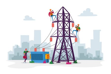 Electrician Workers Characters with Tools, Equipment Electric Transmission Tower Maintenance. Energy Station Powerline Ilustração