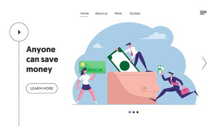 Cash and Credit Cards in Wallet Landing Page Template. Business People Walking around of Huge Purse with Money