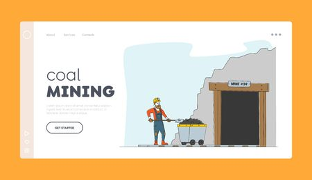 Miner at Work. Extraction Industry Profession Landing Page Template Worker Character in Uniform and Helmet Stand at Coal Mine Entrance with Trolley and with Shovel in Hands. Linear Vector Illustration Vectores