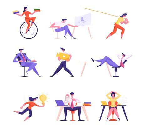 Set of Male and Female Business People Riding Monowheel Bike, Work in Office, Pulling Rope and Procrastinating. Manager Characters Life, Great Idea Watching Video, Working. Cartoon Vector Illustration