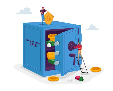 Capital Safety. Tiny Male Character Stand on Ladder Insert Password to Safe with Bills and Coins inside. Money Investment, Business Man Making Savings, Wealth, Income. Cartoon Vector Illustration