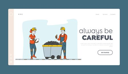 Miners at Work. Extraction Industry Working Occupation Landing Page Template Mine Inspector Character Write Receiving Coal Batch Worker Bring in Trolley from Quarry. Linear People Vector Illustration