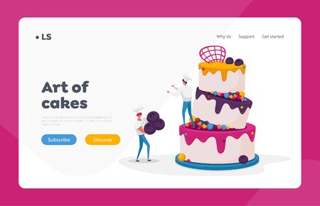 People Cook Festive Cake with Cream Landing Page Template. Tiny Characters in Chef Uniform and Cap Decorating Huge Pie with Berries. Bakery Dessert for Birthday or Wedding. Cartoon Vector Illustration