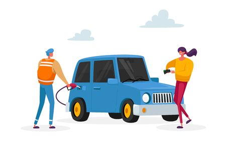 Characters on Gas Station, Worker Hold Filling Gun for Pouring Fuel Into Car. Woman Take Money from Purse. Petroleum Station Refueling Automobile Drivers Service. Cartoon People Vector Illustration Vettoriali