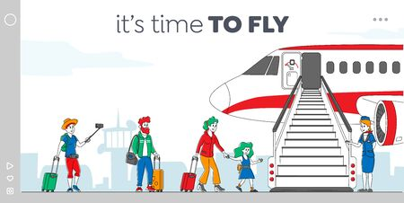 Characters Boarding on Airplane Landing Page Template. People Stand in Queue on Plane in Airport. Passengers and Stewardess Stand at Jet Ladder to Board for Air Travel. Linear Vector Illustration Vektorgrafik
