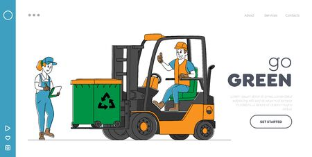 Recycling, Trash Storage for Further Disposal Landing Page Template. Worker Character Driving Forklift Truck with Garbage for Waste Processing Technological Process. Linear People Vector Illustration Zdjęcie Seryjne - 148650257