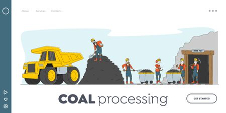 Coal Mining Landing Page Template. Miner Characters Working on Quarry with Tools, Transport and Technique. Extraction Industry Technics, Work Equipment for Quarry. Linear People Vector Illustration