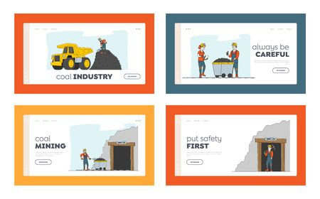 Coal Mining Landing Page Template Set. Miner Characters Work on Quarry with Tools, Transport and Technique. Extraction Industry Technics, Work Equipment for Quarry. Linear People Vector Illustration