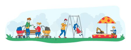 Happy Kids and Parents Characters Fun on Outdoor Playground. Children Ride on Swing, Playing in Sandbox. Active Summer Games on Street. Leisure, Vacation or Holidays. Linear People Vector Illustration