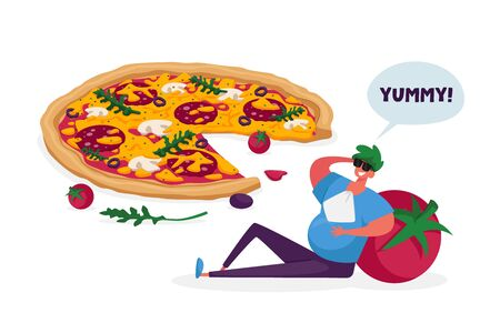 Gorged Male Character with Fat Belly Lean on Huge Tomato Sitting at Italian Pizza with Olives, Mushrooms, Tomatoes and Sausage. Pizzeria Meal, Bistro Italian Food Menu. Cartoon Vector Illustration Illustration