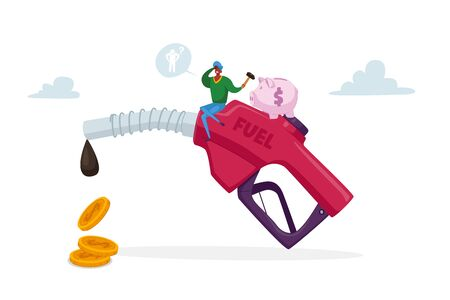 Petrol Economy, Car Refueling on Fuel Station. Tiny Character with Piggy bank Sitting on Huge Pumping Gasoline Hose with Dripping Oil and Coins, Filling Automobile Service. Cartoon Vector Illustration Stock Illustratie