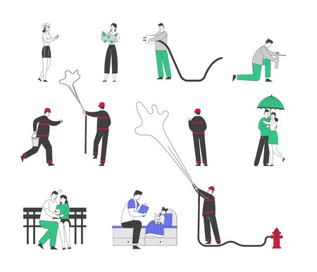 Set of Male and Female Characters Using Gadgets, Firefighters Fighting with Fire, Couple Walking under Umbrella in Rain. Man Woman Kissing, Father Read Book to Child. Linear People Vector Illustration