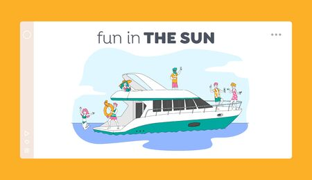 Young People Relaxing on Luxury Yacht at Ocean Landing Page Template. Summertime Vacation, Happy Characters Rest on Ship, Jumping to Sea, Drinking Champagne, Take Sun Bath. Linear Vector Illustration