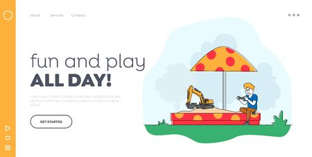 Little Child Playing in Sandbox Landing Page Template. Boy Playing with Toy Excavator on Remote Control. Outdoors Activity, Game, Recreation and Amusement in Yard. Linear Character Vector Illustration