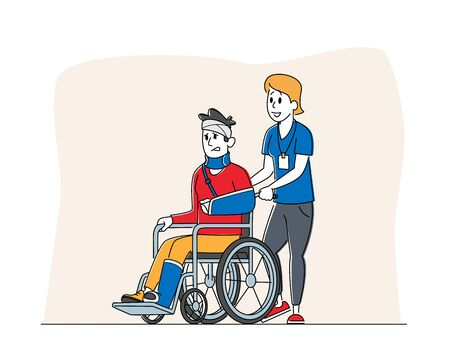 Disabled Male Character with Broken Hand and Leg Riding Wheelchair with Nurse Assistance. Man Patient in Traumatology Hospital, Handicapped Person Disability Concept. Linear People Vector Illustration Vettoriali