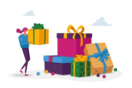 Tiny Female Character Prepare for Birthday, Valentine, Christmas or New Year Party Celebration. Woman Put Wrapped Box on Huge Heap of Presents. Girl Put Gift on Stack Top. Cartoon Vector Illustration