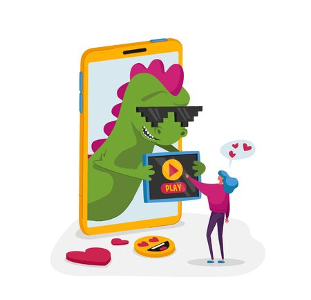 Tiny Female Character at Huge Smartphone with Funny Dragon on Screen Using Mobile Put Play Button on Gadget Device. Viral Content Spreading, Followers Attraction, Feedback. Cartoon Vector Illustration Çizim