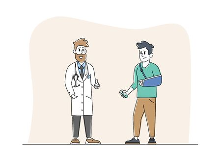Injured Man with Broken Hand Communicate with Doctor Get Medicine Remedy. Character with Physical Injure Rehabilitation, Correction of Lost Physical Body Abilities. Linear People Vector Illustration