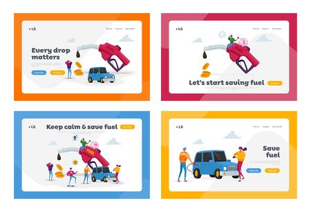 Petrol Economy, Car Refueling on Fuel Station Landing Page Template Set. Tiny Characters around Huge Pumping Gasoline Hose. Oil Filling Service, Automotive Industry. Cartoon People Vector Illustration