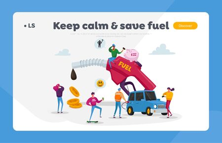 Petrol Economy, Car Refueling on Fuel Station Landing Page Template. Tiny Characters around Huge Pumping Gasoline Hose. Oil Filling Service, Automotive Industry. Cartoon People Vector Illustration