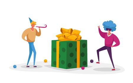 Cheerful Men Characters in Funny Hat and Periwig Celebrate Holiday with Present. Young Happy People Christmas