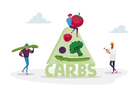 Ketogenic Diet Concept. Characters Bring Carb Products for Keto Dieting. Man with Asparagus, Woman Holding Huge Strawberry. Healthy Nutrition, Low Carbs Eating. Cartoon People Vector Illustration  イラスト・ベクター素材