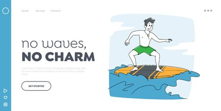Surfing Recreation in Ocean. Landing Page Template. Man Surfer Character in Swim Wear Riding Big Sea Wave on Board. Summertime Activity, Healthy Lifestyle, Vacation Leisure. Linear Vector Illustration Vectores