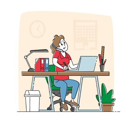 Office Worker Busy Business Woman or Freelancer Character Working on Laptop Sitting at Table Workplace Talking by Mobile Phone. Freelance Outsourced Employee Occupation. Linear Vector Illustration